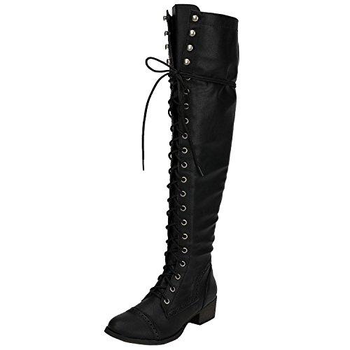 Breckelles Women'S Alabama-12 Knee High Riding Boots,7.5 B(M) Us,Premium Black