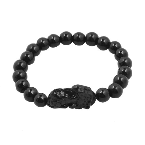 Rosallini Men Plastic Round Beads Pixiu Mascot Fortune Symbol Amulet Bracelet