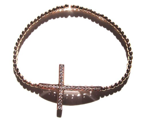 Rose Gold Filled Beads Accentuated By a Sideways Cross Bracelet