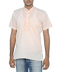 Bhartiya Men's Blended Cotton Regular Fit Kurta (KURTA-4014Fawn_S_Fawn, Fawn, S)