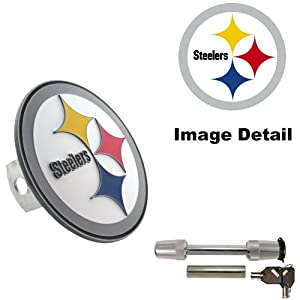 Pittsburgh Steelers Truck SUV Trailer Vehicle Solid Metal Brushed Chrome Hitch Plug Receiver Cover & Universal Trimax TS32 Receiver Hitch Pin Lock Set at Steeler Mania
