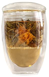 Double Wall Tea Cup with Glass Infuser and Lid - Hands Safe Tumbler Keeps Beverages Hot or... by The Immortalitea Company