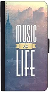 Snoogg Music Is Life Graphic Snap On Hard Back Leather + Pc Flip Cover Htc One X