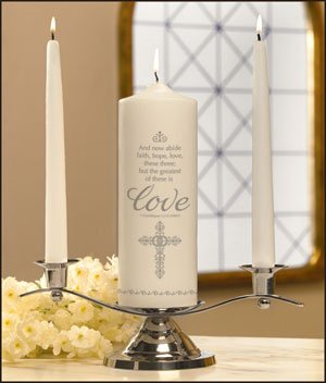 Faith, Hope and Love Wedding Unity Candle Set