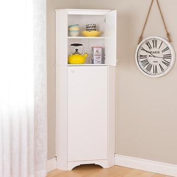 Prepac Tall 2 Door Corner Storage Cabinet in Elite White