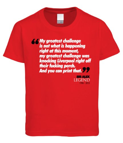 Vectorbomb, Sir Alex Ferguson 'My Greatest Challenge' - Man United MUFC Manchester, Mens T-Shirt (XXL, Red)