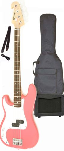 Left Hand Pink Electric Bass Guitar Package with Amp Case Strap Cable