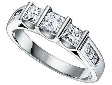 1.00 ct Lady's 3 Stone Princess Cut Diamond Wedding Band in 14 kt White Gold.