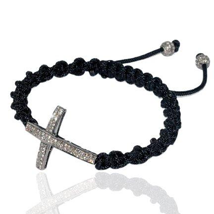 Macrame Charm Cross Bracelet 0.87cts Pave Diamond Silver Religious Jewelry