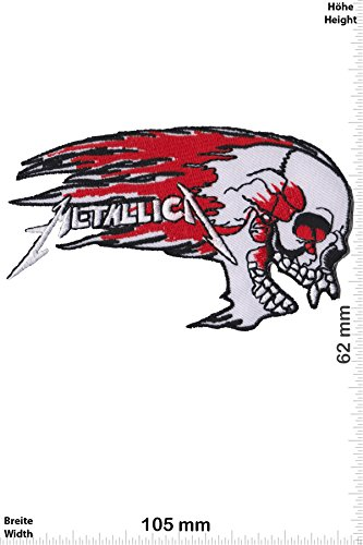 Patch - Metallica - white -HQ - Musica - Metallica - Metallica- toppa - applicazione - Ricamato termo-adesivo - Patch""