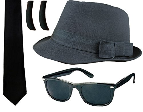 Blues Brothers Fancy Dress Accessory Kit. Hat and Sunglasses.