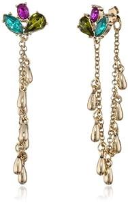 "Betsey Johnson ""Carnival"" Crystal Cluster Chain Linear Drop Earrings"