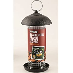 GARDMAN BLACK STEEL HANGING PEANUT FEEDER GARDEN WILD BIRDS NEW