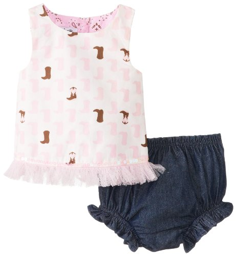 Mud Pie Baby-Girls Newborn Cowgirl Pinnafore And Bloomer Set, Multi, 0-6 Months