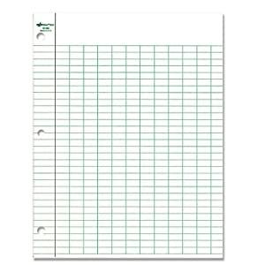 National Brand Data Pad, 12 Columns and Plain, White Paper, 8.5 x 11 Inches, 50 Sheets (42383)