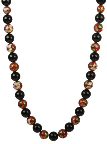 12mm Red Cloisonne and 12mm Black Onyx with Gold Plated Sterling Silver Clasp Necklace, 18