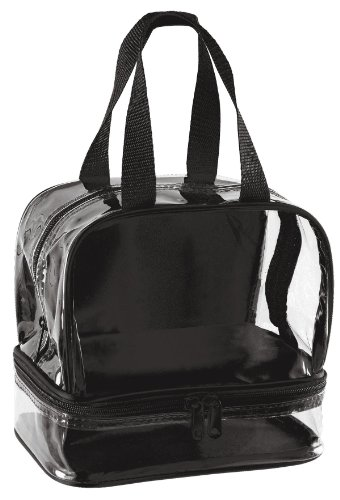 Clear Small Lunch Bag with Zipper Compartment - Black Trim - 1
