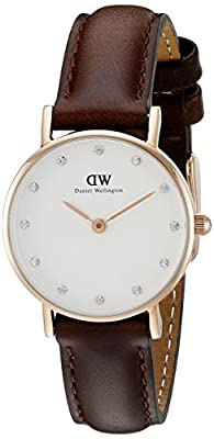 Daniel Wellington Classy Bristol Women's Quartz Watch with White Dial Analogue Display and Brown Leather Strap 0903DW