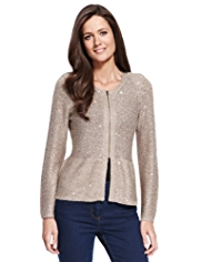 M&S Collection Sequin Embellished Zipped Peplum Cardigan