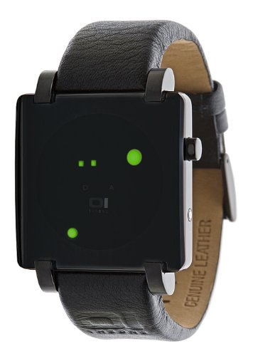 01TheOne Men's GRQ213G1 Gamma Ray Square Green LED Gun-Metal Watch