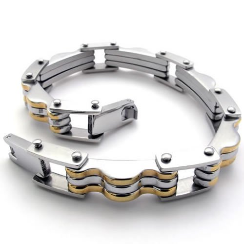 KONOV Stainless Steel Men's Bracelet, Gold Silver, 9 Inch