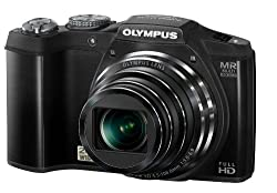 Olympus SZ-16 16MP Point-and-Shoot Digital Camera with 24x Optical Zoom (Black) with SD Card and Camera Case and HDMI Cable