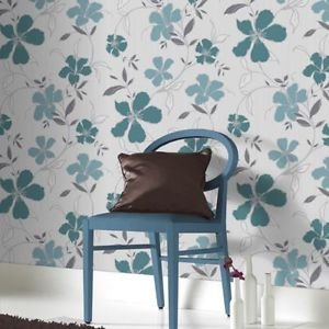 SuperFresco Easy Rapture Wallpaper - Teal and Sil by New A-Brend