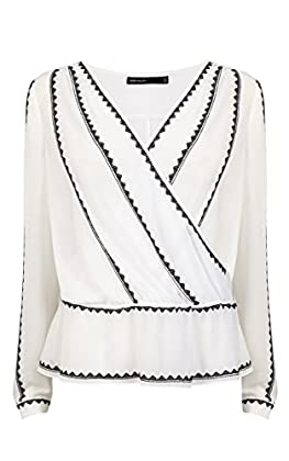 EMBROIDERED WRAP BLOUSE