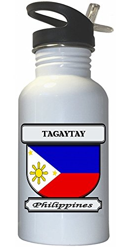 Tagaytay, Philippines City White Stainless Steel Water Bottle Straw Top