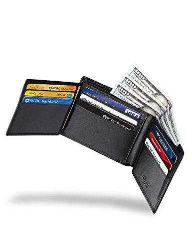 Kinzd Mens Extra Capacity Leather Trifold RFID Wallet Hybrid Bifold Flipout ID