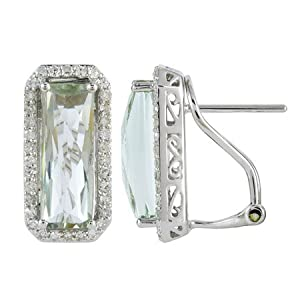 14K White Gold 4.92ct Rd Diamond & Octagon Green Amethyst Stud Earrings