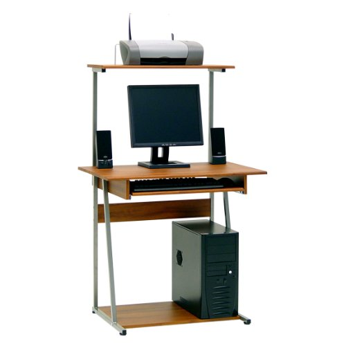 Buy Low Price Comfortable Tower Computer Desk – Silver and Cherry Finish (B004XE0VO4)