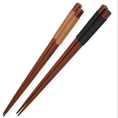 Ecloud Shop® Lot de 2 style traditionnel japonais Vaisselle solide couleur marron Baguettes avec filetage noir brun Reliure
