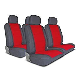 UNIVERSAL CAR SEAT COVER FOR MIDSIZE AND COMPACT CARS FULL SET - DARK GRAY/RED
