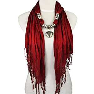 Antique Silver Heart Pendant Necklace Scarf Jewelry Scarf, Maroon