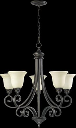 Quorum 6154-5-86 Bryant - Five Light Chandelier, Oiled Bronze Finish with Amber Scavo Glass