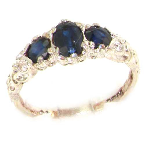 Ladies Solid Sterling Silver Natural Sapphire English Victorian Trilogy Ring - Size 12 - Finger Sizes 5 to 12 Available - Suitable as an Anniversary ring, Engagement ring, Eternity ring, or Promise ring