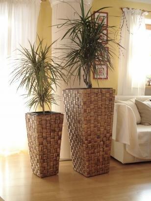 """2er Set Wasserhyazinthe Blumenkübel Übertöpfe Pflanzkübel Blumentopf """"Macau"""" braun 87/62cm hoch"""