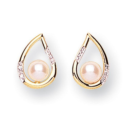 9ct Gold Diamond and Freshwater Pearl Earrings