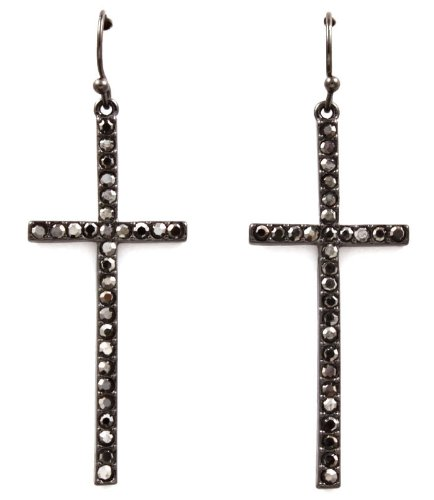 PoParazzi Basketball Wives Hip Hop Style Gunmetal Black Crystal Embellished Cross 2