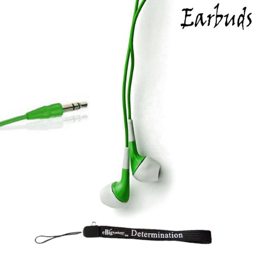 "Ebigvalue: Green Crystal Clear High Quality Hd Noise Filter Ear Buds Earphones Headphones (3.5Mm Jack) For Amazon Kindle Fire 7"" 2Nd Generation And Amazon Kindle Fire Hd 7"" And Amazon Kindle Fire Hd 8.9"" 4G Lte + An Ebigvalue Tm Determination Hand Strap"