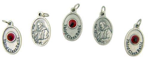 lot-of-5-patron-saint-padre-pio-3-4-inch-silver-tone-3rd-class-relic-medal-by-lumen-mundi