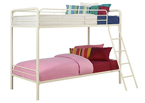 Dhp twin over twin metal bunk bed white best deals toys Best deal on twin mattress