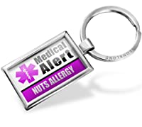"Neonblond Keychains Medical Alert Purple ""Nuts Allergy"" - Key chain ring"