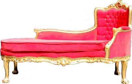Barock Chaiselongue Palace Rot/Gold Bling Bling
