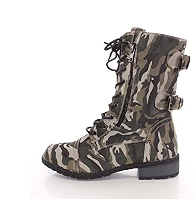 s lace up camouflage high heel combat