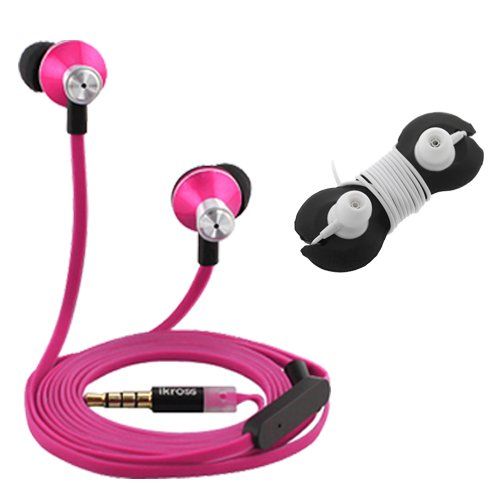 Ikross In-Ear 3.5Mm Noise-Isolation Stereo Earbuds With Microphone (Hot Pink / Black) + Headset Wrap For Lg G3, Volt, Optimus Exceed 2, Optimus L90, Optimus L70, Lucid 3, Optimus Zone 2, Extravert 2, G Pro 2, Optimus F3Q, G Flex, G2, G Pad 8.3, Optimus F6