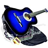 "38"" BLUE Student Acoustic Guitar Starter Package, Guitar, Gig Bag, Strap, Pitch Pipe & DirectlyCheap(TM) Translucent Medium Guitar Pick (BU-AG38)"