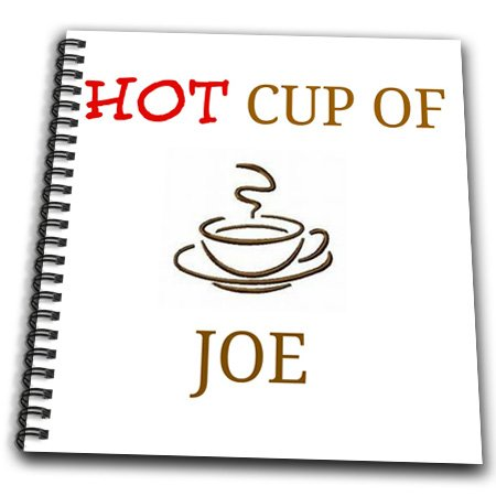 Db_180073_2 Xander Funny Quotes - Hot Cup Of Joe, Red And Brown Lettering With Picture Of Cup Of Coffee - Drawing Book - Memory Book 12 X 12 Inch