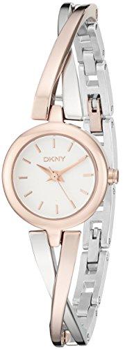 DKNY NY2172 Crosswalk Rose Gold Silver Half-Bangle Women's Watch